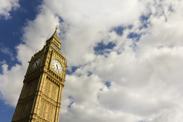 Big Ben in the summer with copy space.