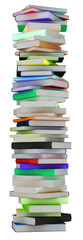 Education and knowledge. Tall heap of hardcovered books