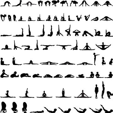 Various yoga postures silhouettes vector-