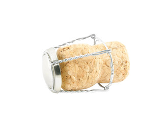 Champagne cork isolated on white background