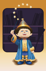Young wizard with magic wand