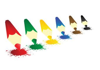 Vector illustration colour pencils with blots