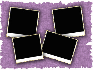 Blank photo frames on old textured background