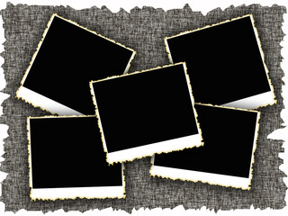 Blank photo frames with heart on old textured background