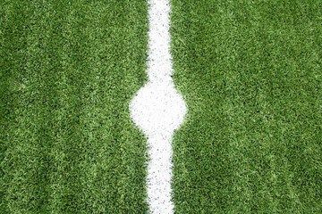 point lines on soccer field green grass
