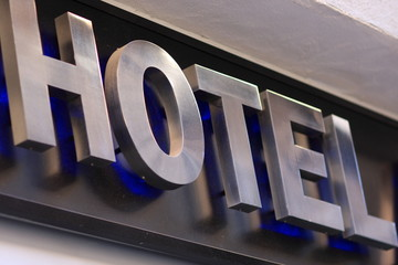 Hotel inscription on building