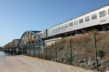 Iron bridge and train in Portimao, Algarve Portugal