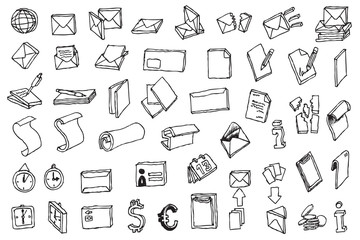 hand draw office and post communication icon vector
