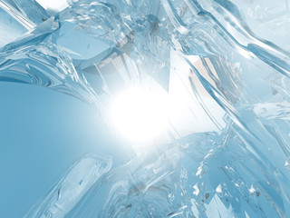 Beautiful blue textured abstract background of ice