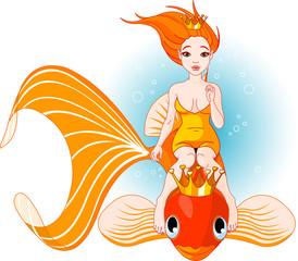 Photo sur Aluminium Mermaid Mermaid riding on a golden fish