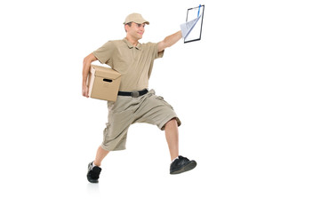 Postman in a hurry delivering package isolated on white