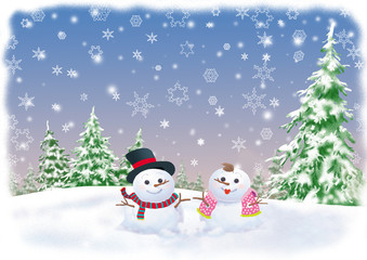 winter background with snowman couple