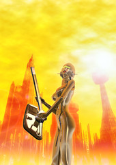 robot female guitarist