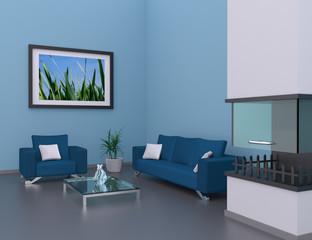 Wohnung Rendering hellblau