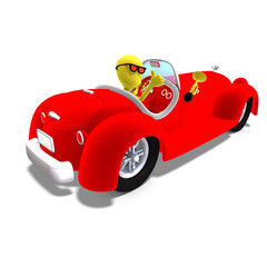 Printed roller blinds Cars 3d male icon toon character driving a huge car. 3D rendering wit