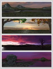 four different fantasy landscapes for banner, background or illu
