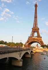 Eiffel Tower, Bridge and River