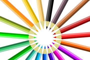 farbige Buntstifte im Kreis angeordnet