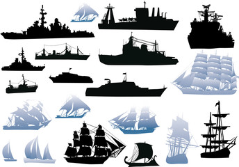 set of black and blue ship silhouettes