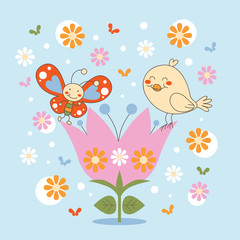 Butterfly and Bird friends dancing in a flower
