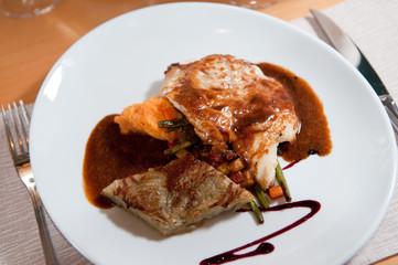 roast chicken breast in mushroom cream sauce and fresh vegetable