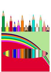 Coloured wooden pencils box - Vector