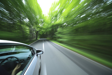 Wall Mural - car driving fast into forest.