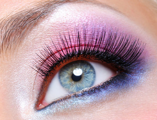 Bright pink  makeup of a female eye