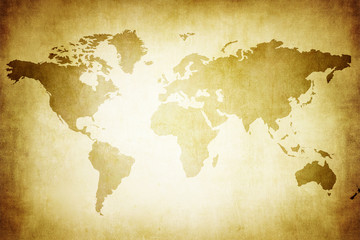 World map on an old parchment paper.