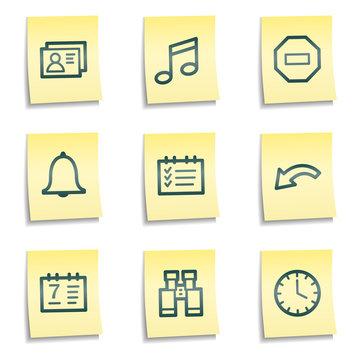 Organizer web icons, yellow notes series