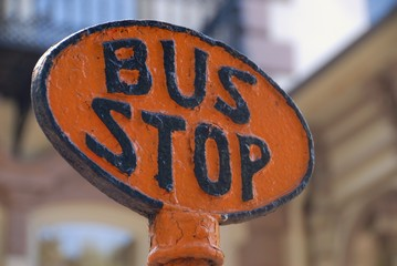 old bus stop sign Savannah Georgia