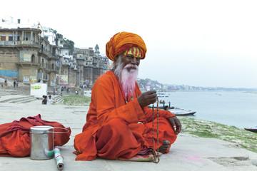 Old Sadhu at the ghats in Varanasi, India.