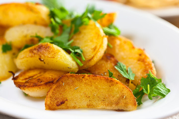 Roasted potatoes with fresh parsley