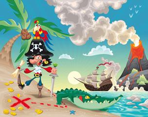 Foto op Plexiglas Piraten Pirate on the isle. Funny cartoon and vector scene.