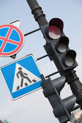 Traffic-light with road signs