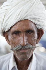Portrait of a Rajasthani Indian man with turban.