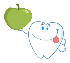 Smiling Tooth Holding Up A Green Apple