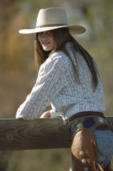 Cowgirl on bridge