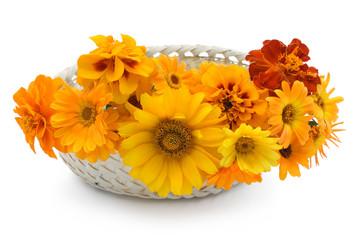 Basket with orange flowers