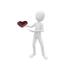 3d man offering his heart