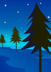 Illustration of Christmas tree in a blue background