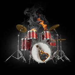 Foto op Textielframe Vlam Drums in fire
