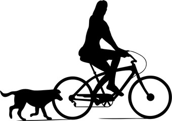 Wall Mural - CYCLISTE ET SON CHIEN
