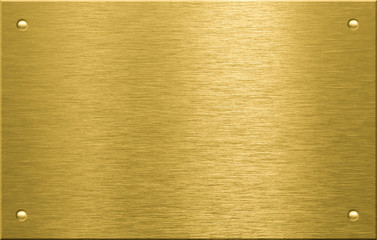 Brass or bronze metal plate with four rivets Wall mural