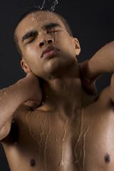 Men enjoying the shower