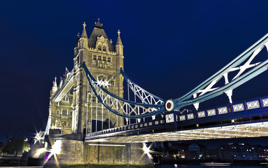 HDR picture of London's Tower Bridge at night