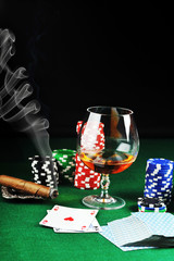 drink and playing cards
