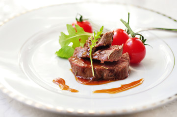lamb fillet with sauce