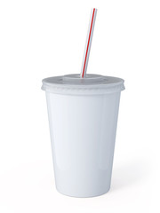 White palstic fastfood cup