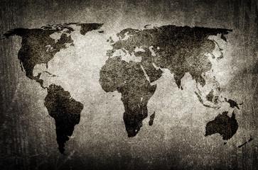 Tuinposter Wereldkaart grunge world map